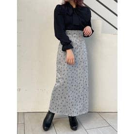 スエードライクIラインスカート(グレー)