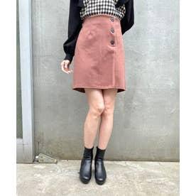 ボタンデザインAラインスカート(ピンク)
