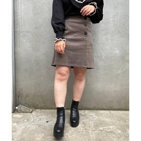 ボタンデザインAラインスカート(ブラウン)