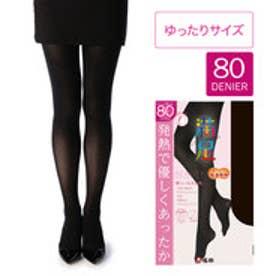 【福助】 【吸湿発熱+ソフトタッチ】 80デニール タイツ ゆったりサイズ (ブラック)