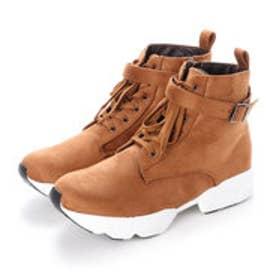 4E/幅広ゆったり・大きいサイズの靴 レースアップダッドスニーカーブーツ (キャメル) SOROTTO