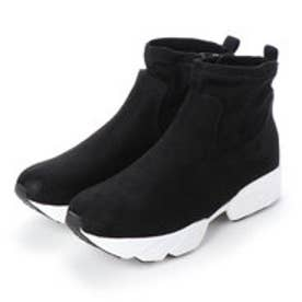 4E/幅広ゆったり・大きいサイズの靴 ストレッチ素材のダッドスニーカーブーツ (ブラック) SOROTTO