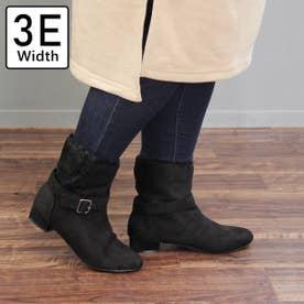 【3E幅広・大きいサイズ】セパレートエコファーアーモンドトゥブーツ (ブラック)