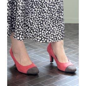 【5E/幅広ゆったり・大きいサイズの靴】バイカラースクエアトゥパンプス (ピンク) SOROTTO