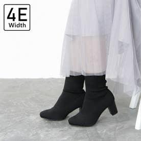【4E幅広・大きいサイズ】スクエアトゥのストレッチソックスブーツ (ブラック)