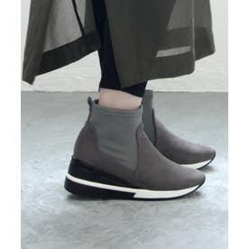 【幅広ゆったり・大きいサイズの靴】 ストレッチ素材のスニーカーブーツ (グレースエード) SOROTTO