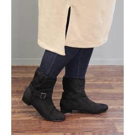 【3E/幅広ゆったり・大きいサイズの靴】 セパレートエコファーアーモンドトゥブーツ (ブラックスエード) SOROTTO
