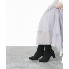 【4E/幅広ゆったり・大きいサイズの靴】 スクエアトゥストレッチソックスブーツ (ブラック) SOROTTO