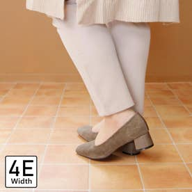 【4E幅広・大きいサイズ】スクエアトゥチャンキーヒールパンプス (オーク)