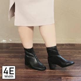 【4E幅広・大きいサイズ】スクエアトゥストレッチブーツ (ブラック)