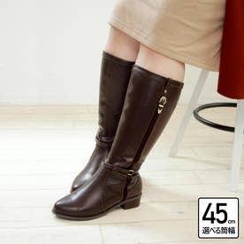 【4E幅広・大きいサイズ・選べる筒幅】デザインベルトジョッキーブーツ (ダークブラウン)