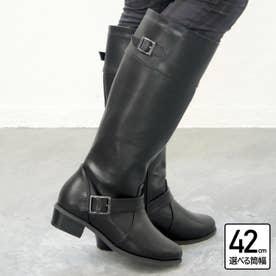 【4E幅広・大きいサイズ・選べる筒幅】ベルト使いジョッキーブーツ (ブラック)