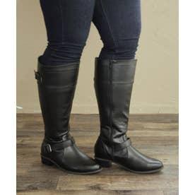 【masyugirl(マシュガール)】【4E/幅広ゆったり・大きいサイズの靴・選べる筒幅 ベルト使いジョッキーブーツ】SOROTTO (ブラック)