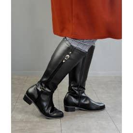 【masyugirl(マシュガール)】【4E/幅広ゆったり・大きいサイズの靴・選べる筒幅 デザインジョッキーブーツ】SOROTTO (ブラック)