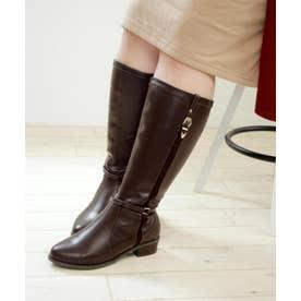【masyugirl(マシュガール)】【4E/幅広ゆったり・大きいサイズの靴・選べる筒幅 デザインジョッキーブーツ】SOROTTO (ダークブラウン)