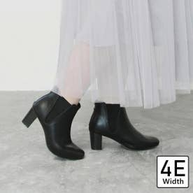 【4E幅広・大きいサイズ】スクエアトゥサイドゴアブーツ (ブラック)