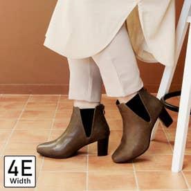 【4E幅広・大きいサイズ】スクエアトゥサイドゴアブーツ (オーク)