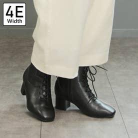 【4E幅広・大きいサイズ】スクエアトゥレースアップブーツ (ブラック)