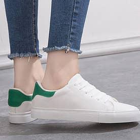 レザー調で高見え♪トレンド定番の白スニーカー♪ (ホワイト×グリーン)