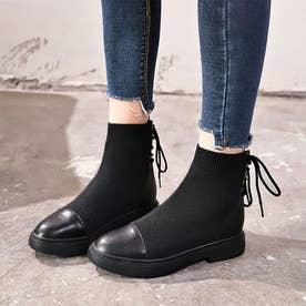 スニーカーソールで履きやすいショートブーツ (ブラック)