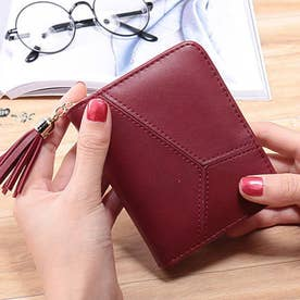 タッセル付二つ折り財布 (レッド)