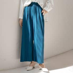 上品プリーツワイドパンツ (ブルー(ポケットあり))