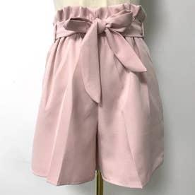 ハイウエストに太めのリボンが可愛らしい、ワイドパンツ。 (ピンク)
