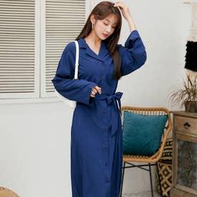 羽織ものとしても、シャツワンピ風にもコーデできるロングシャツジャケット。 (ネイビー)
