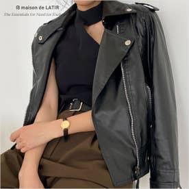 ソフトな着心地で着やすいコンパクトシルエットのPUレザーライダースジャケット (ブラック)