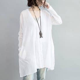 清涼感のあるcottonサマーシャツ (ホワイト)