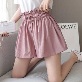 たっぷりギャザーでスカートのようなショートパンツ (ピンク)