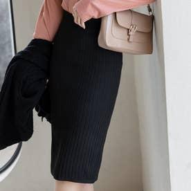 上品なシルエットスリットタイトスカート (ブラック)