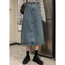 ヴィンテージ感のあるデニムロングスカート★ (ブルー)
