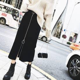 フロントリングファスナー スカート(ブラック)