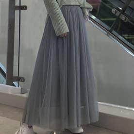 ふんわり風を味方に★チュールスカート (グレー)