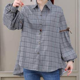 ボリューム袖 リボン 長袖チェックシャツ (グレーチェック)
