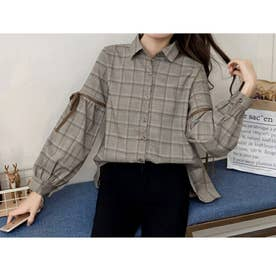 ボリューム袖 リボン 長袖チェックシャツ (ベージュチェック)