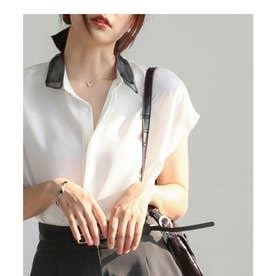 配色シアーシャツ (ホワイト)