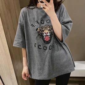プリントビッグTシャツ (グレー)
