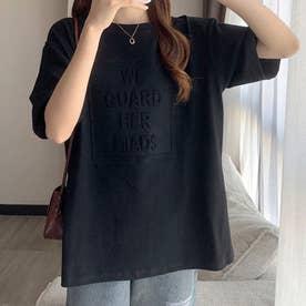 エンボス加工ロゴTシャツ (ブラック)