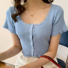 女性らしい上品 リブTシャツ (ブルー)