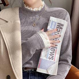 首元・袖口に可愛いフリル付き薄手トップス (グレー)