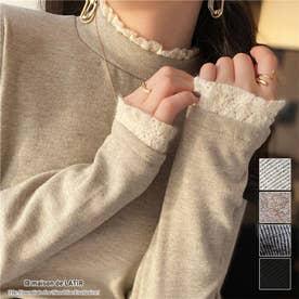 首元・袖口に可愛いフリル付き薄手トップス (ベージュ)