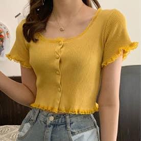 女性らしい上品 リブTシャツ (イエロー)