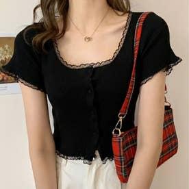 女性らしい上品 リブTシャツ (ブラック)