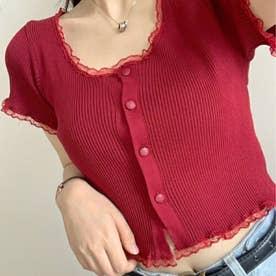 女性らしい上品 リブTシャツ (レッド)
