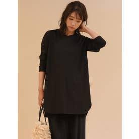 シルキースムースチュニックTシャツ (ブラック)