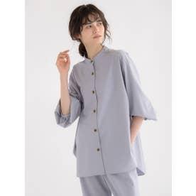 【雑誌掲載】TRポプリンバンドカラーシャツ (パープル)