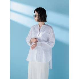 リネンバンドカラーシャツ (ホワイト)