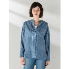 リネンバンドカラーシャツ (ブルー)